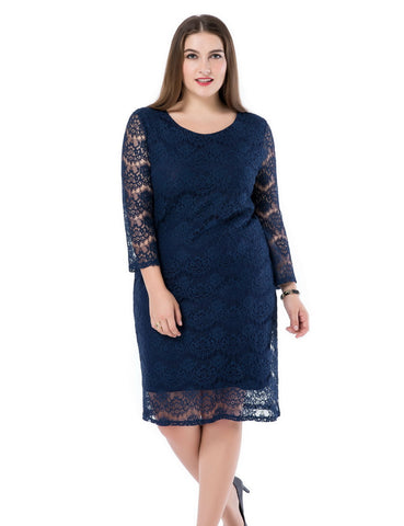 Lined Lace Dress 3/4 Sleeves
