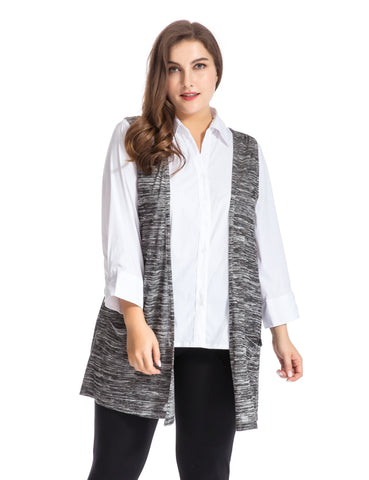 Plus Size Melange Knit Vest