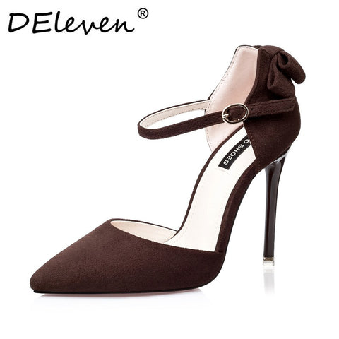 2017 New Vogue Mary Janes Suede Bowknot Pointed Toe High Heel