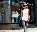 Solid sleeveless Top cotton turtleneck T-Shirt