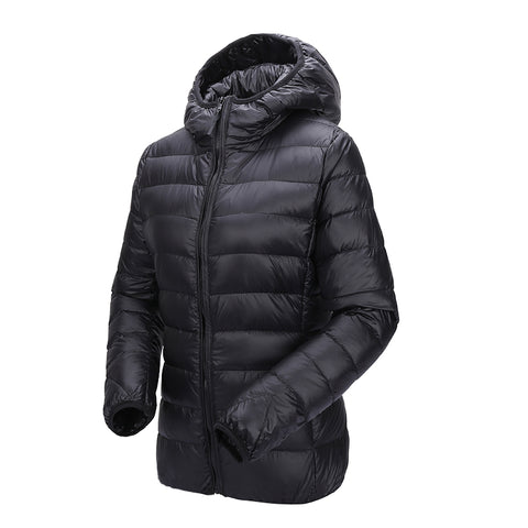Ultra light down hooded duck down jacket