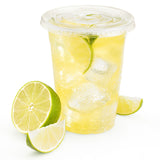 Green Direct 12 oz. Plastic Clear Cups With Flat Lids for Cold Drink / Bubble Boba / Iced Coffee / Tea / Smoothie Pack of 100