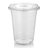Green Direct 16 oz. Plastic Clear Cups With Flat Lids for Cold Drink / Bubble Boba / Iced Coffee / Tea / Smoothie Pack of 100