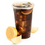 Green Direct 20 oz. Plastic Clear Cups With Flat Lids for Cold Drink / Bubble Boba / Iced Coffee / Tea / Smoothie Pack of 100