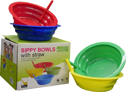 Green Direct Sippy Bowl 22 Ounce Plastic Cereal Bowl with Built in Straw for Kids Assorted Colors Blue-Red-Green-Yellow Pack of 4