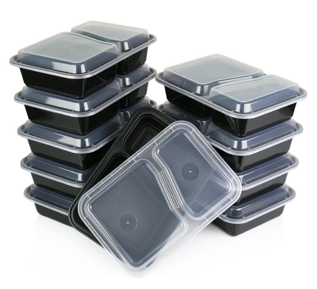 2 Compartment Containers w/ Lids (10 Pack)