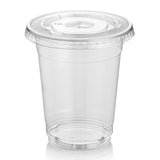 Green Direct 9 oz. Plastic Clear Cups With Flat Lids for Cold Drink / Bubble Boba / Iced Coffee / Tea / Smoothie Pack of 100