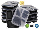 Green Direct 3 Compartment Meal Prep Containers / Food Storage Containers with Lids, Microwaveable, Freezer & Dishwasher Safe, Pack of 10