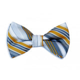 Yellow and Gray Stripe Bow Tie
