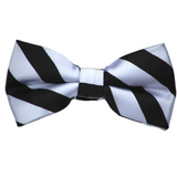 Black and Silver Stripe Bow Tie