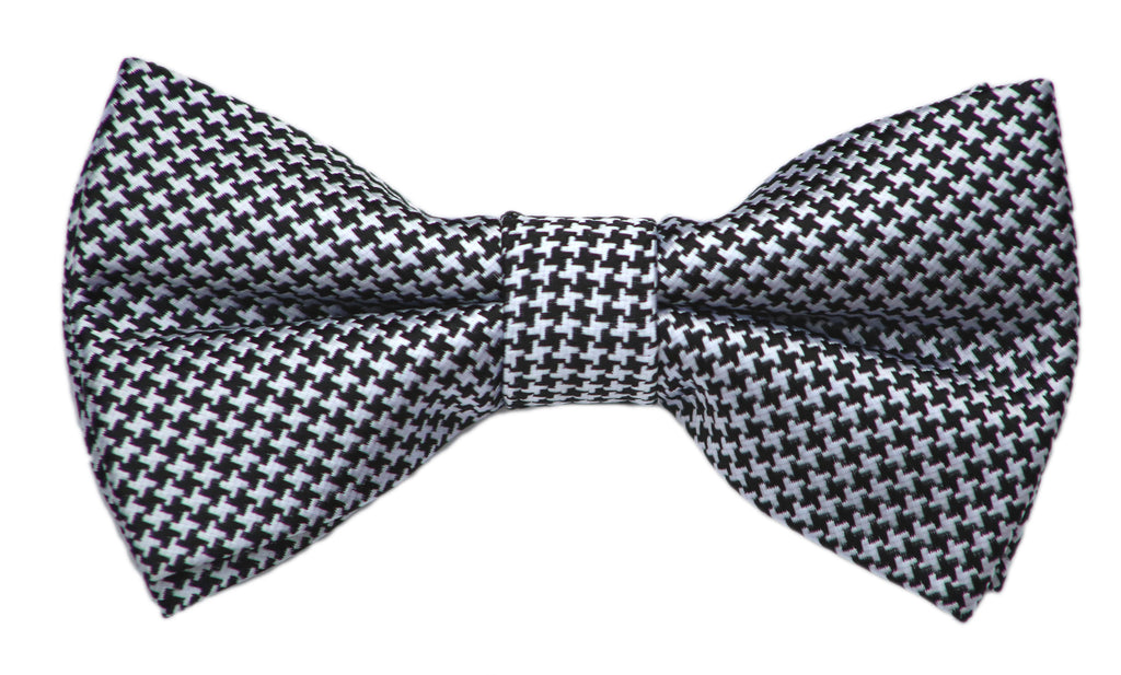 Black and White Small Checkered Bow Tie