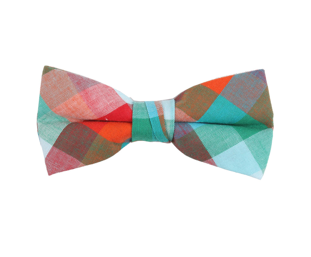 Green Brown Checkered Bow Tie