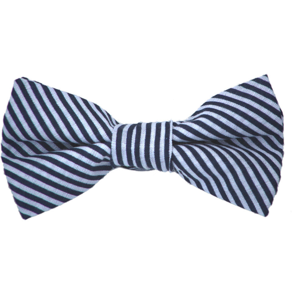Navy and White Stripe Cotton Bow Tie