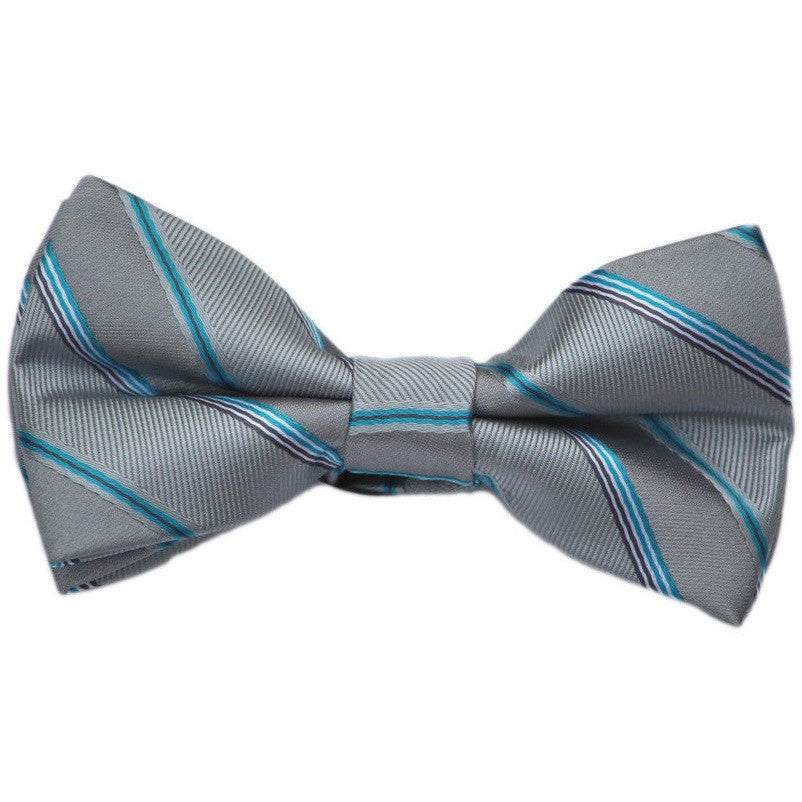 Gray and Blue Stripe Bow Tie