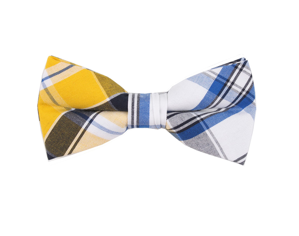 Yellow Brown Checkered Bow Tie