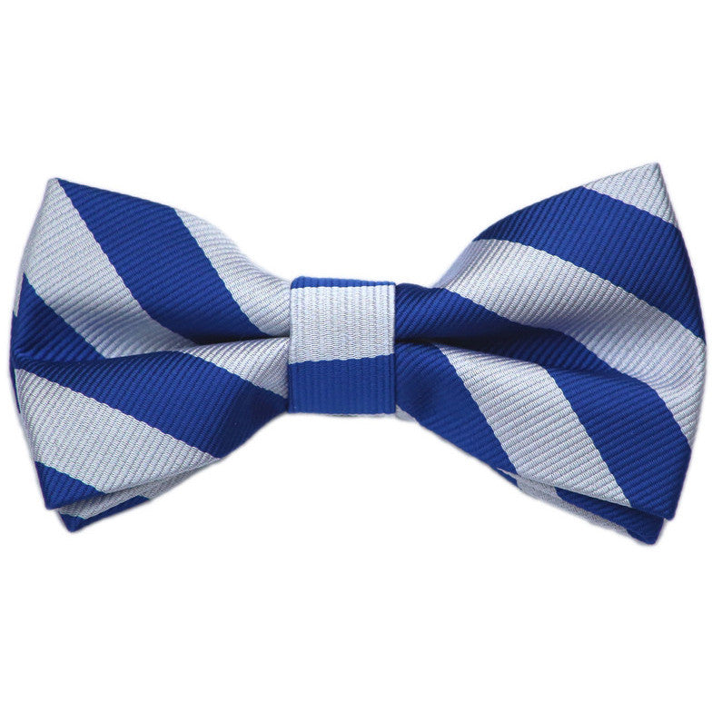 Blue and Silver Stripe Bow Tie