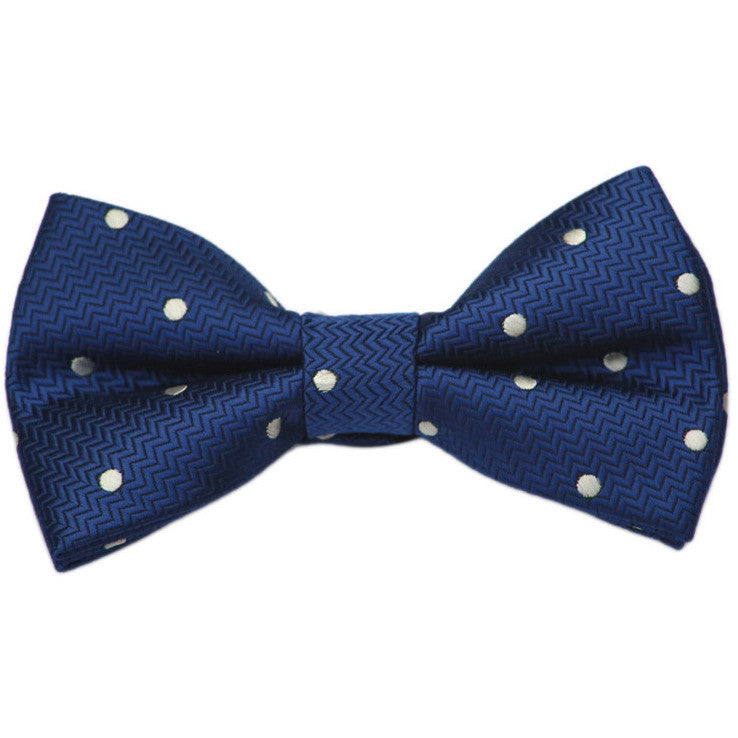 Navy and White Dot Bow Tie