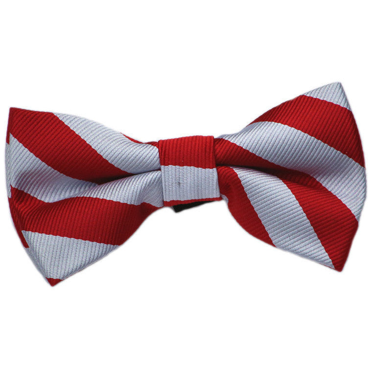 Red and Silver Stripe Bow Tie