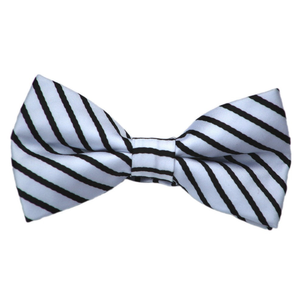 White and Navy Stripe Bow Tie