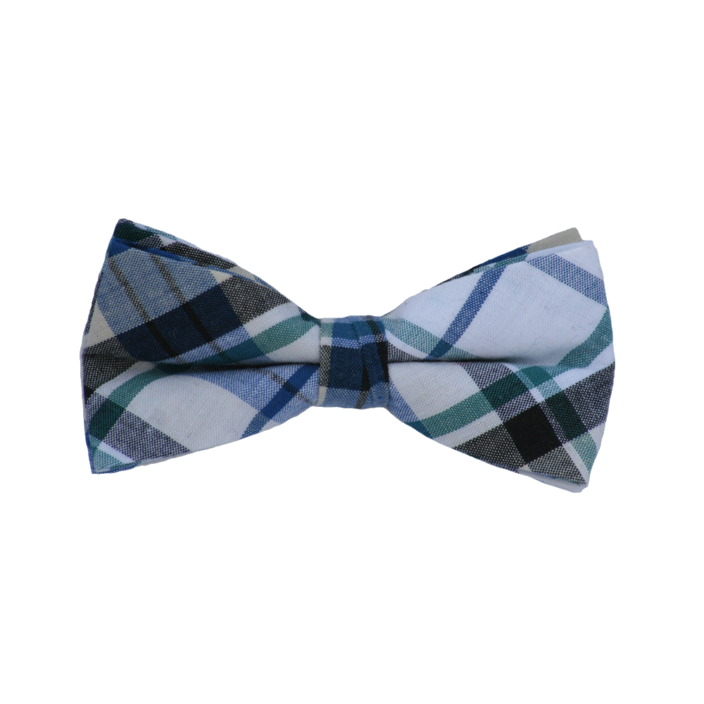 Black Green and Blue Plaid Bow Tie