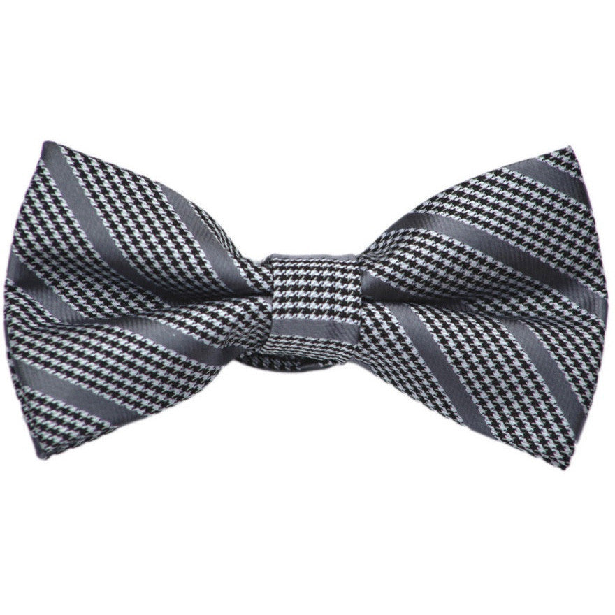Houndstooth with Gray Stripe Bow Tie