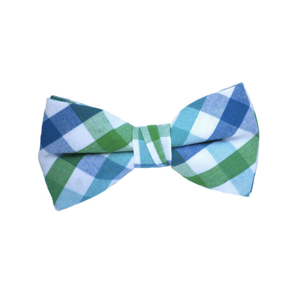 Green And Blue Plaid Bow Tie