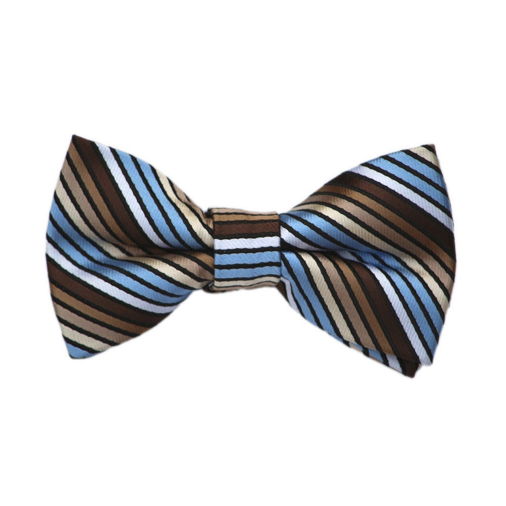 Blue and Brown Stripe Bow Tie