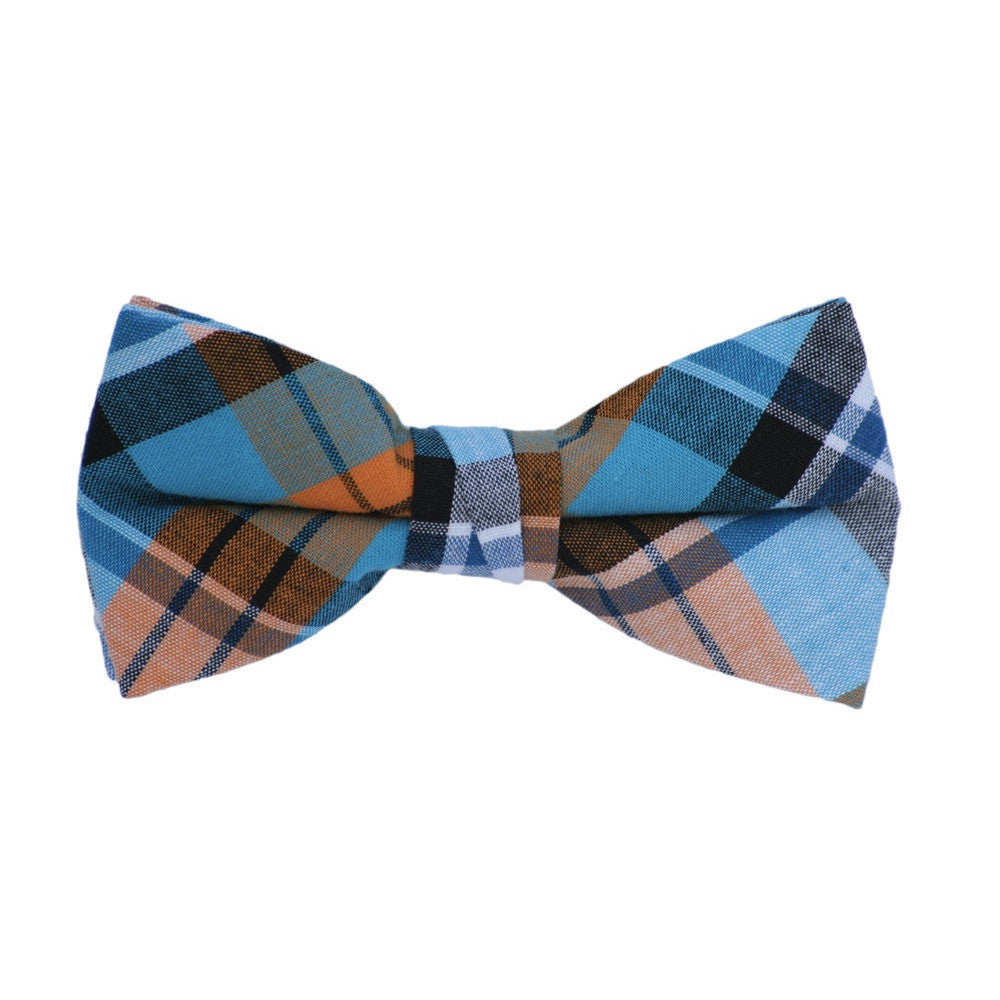 Orange and Blue Plaid Bow Tie
