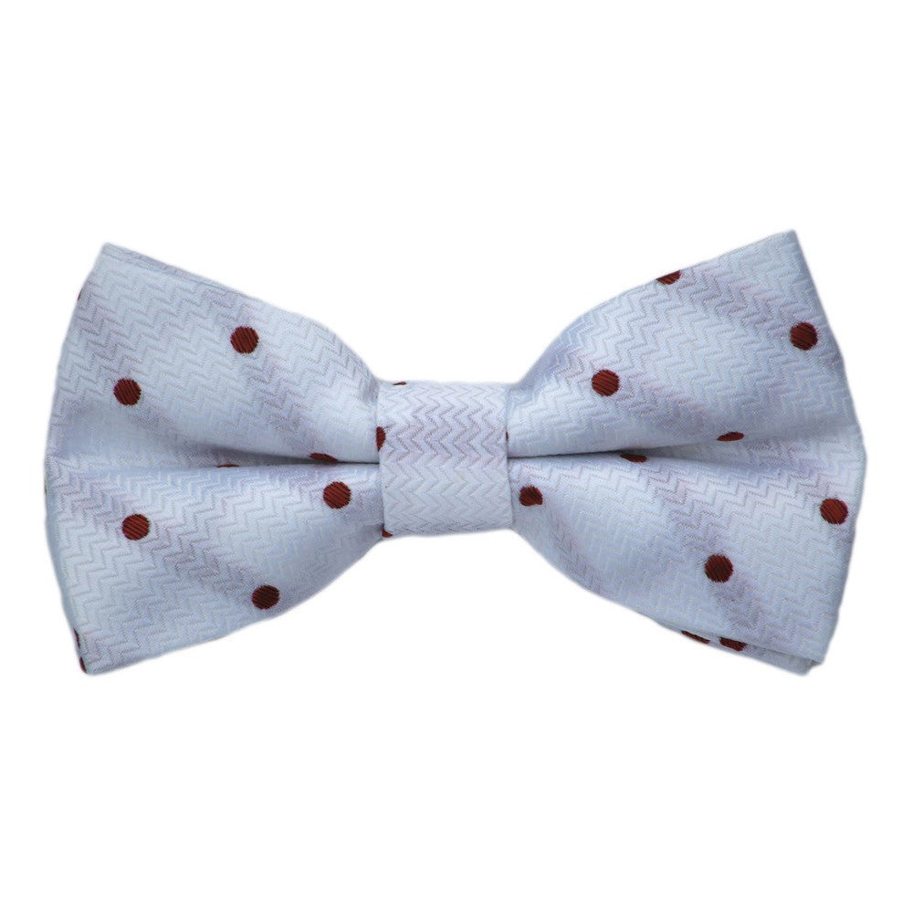 White with Burgundy Dot Bow Tie