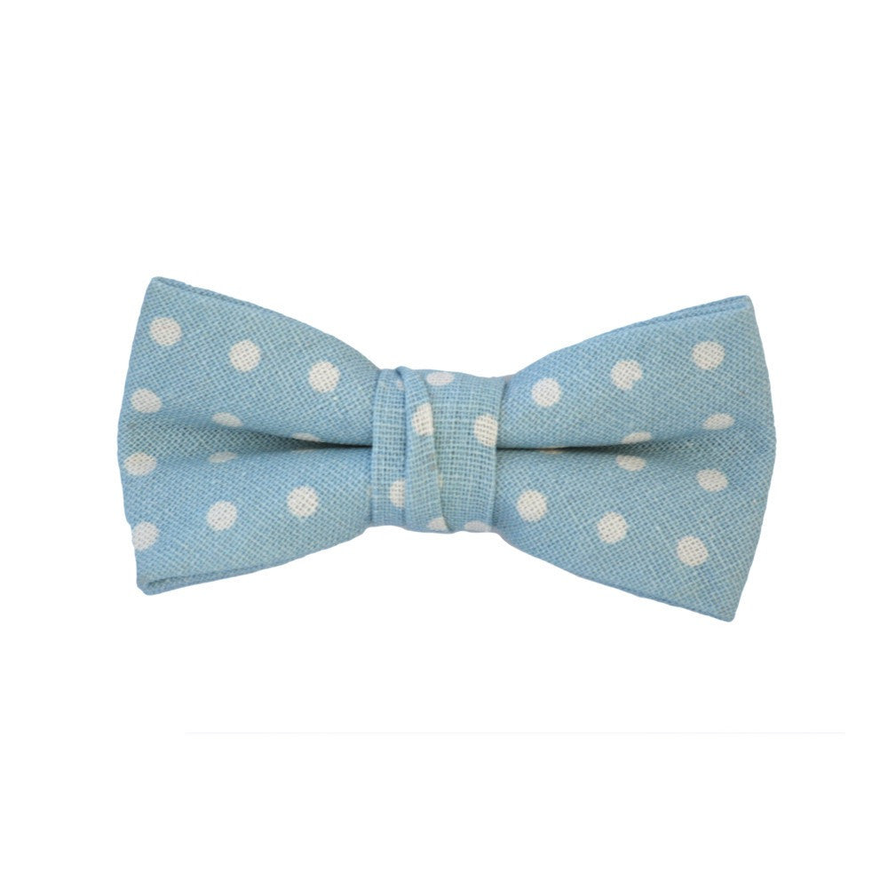 Blue Linen with White Polka Dots Bow Tie