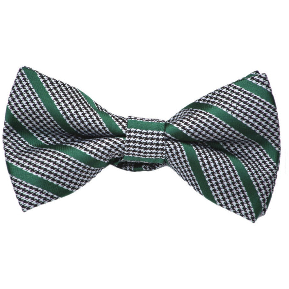 Houndstooth with Green Stripe Bow Tie
