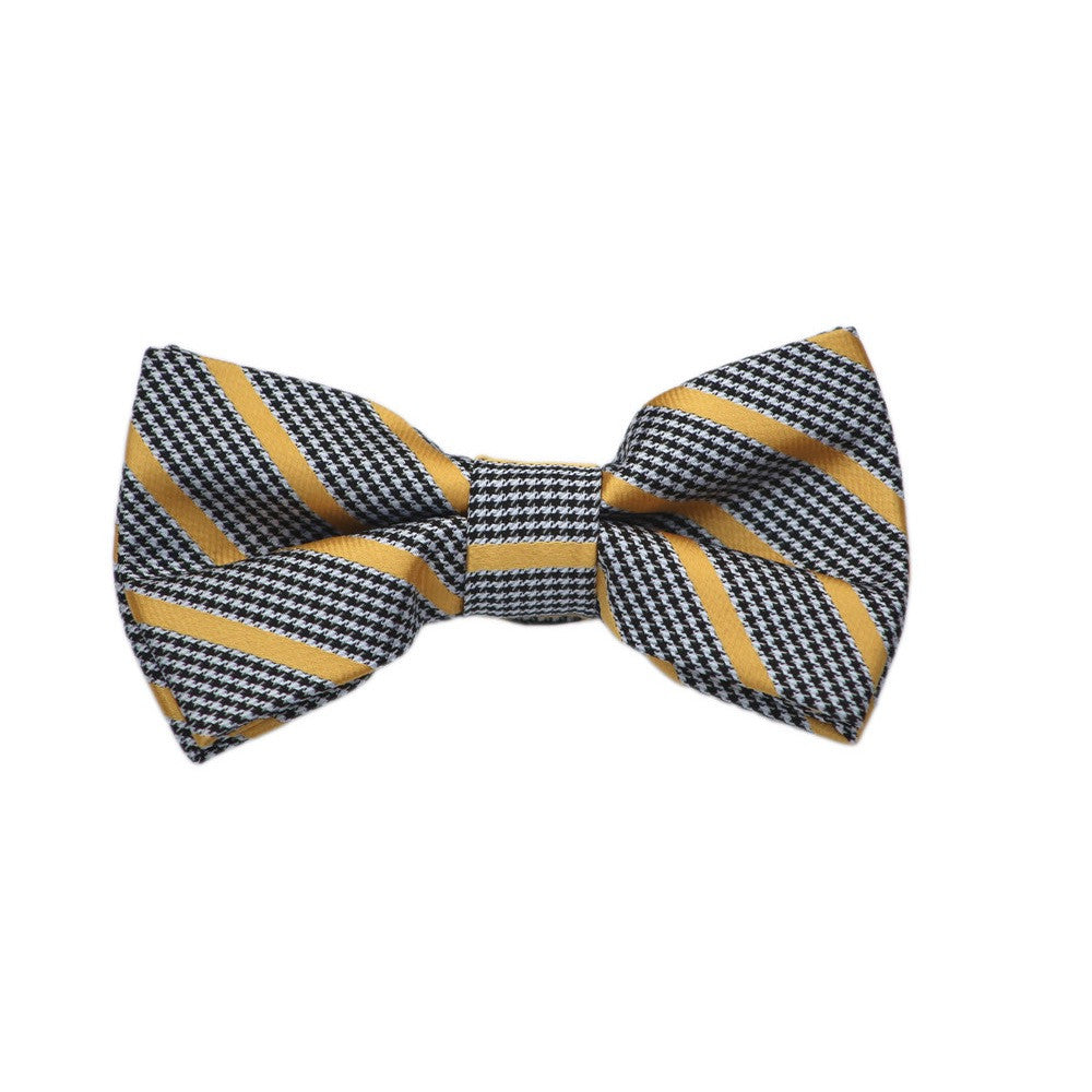Houndstooth and Yellow Stripe Bow Tie