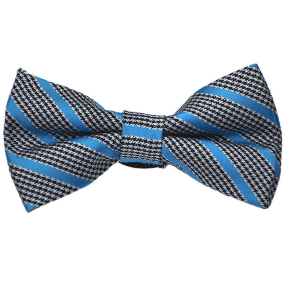 Houndstooth with Blue Stripe Bow Tie