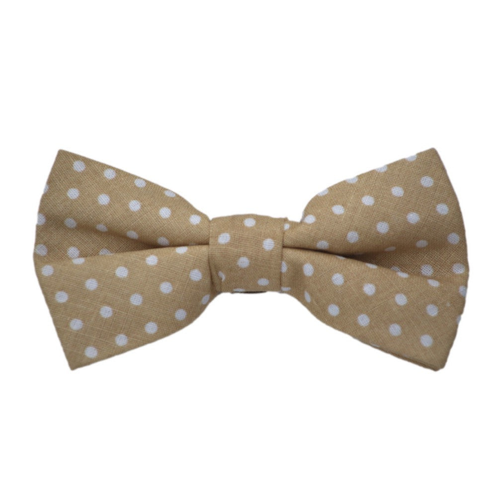 Tan and White Dot Bow Tie