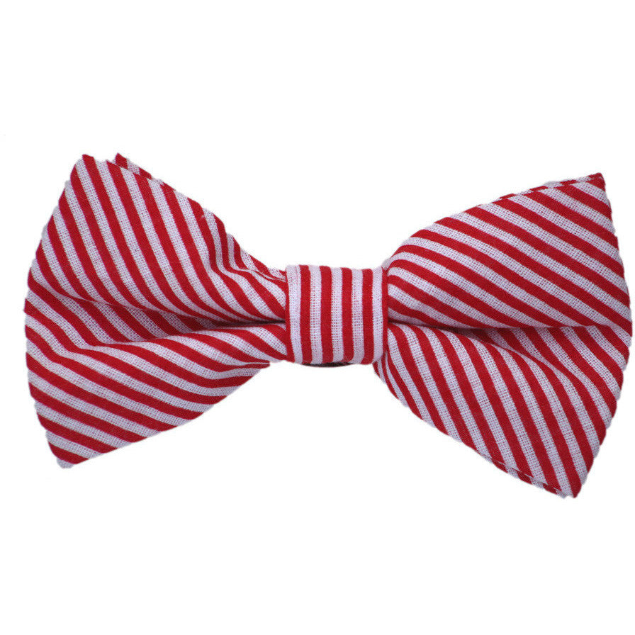 Red and White Stripe Cotton Bow Tie