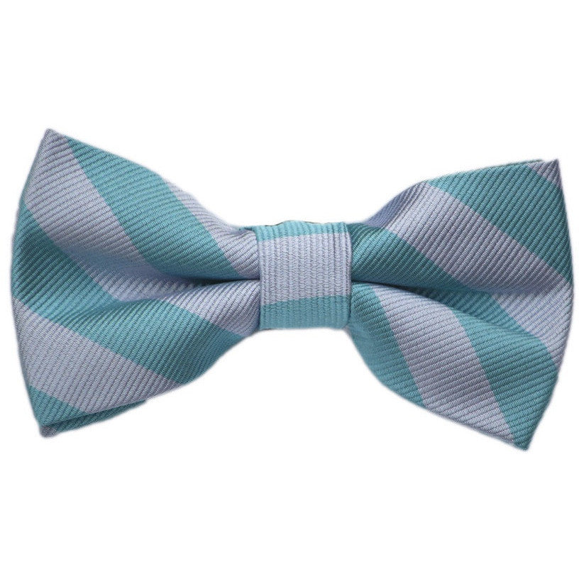 Teal and Silver Stripe Bow Tie