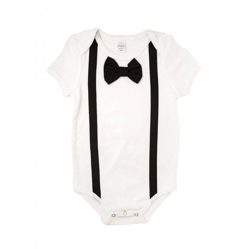 Black Bowtie and Suspenders Onesie -(6/12 Months)
