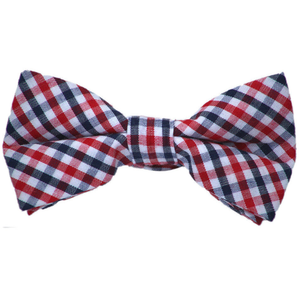 Navy and Red Cotton Bow Tie