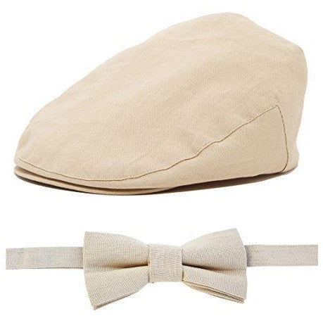 Linen Brown Baby Hat and Bow Tie Set