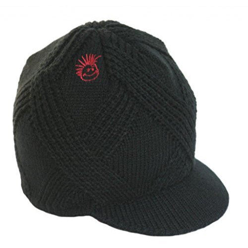 Knuckleheads - Black Boy s Baby Visor Beanie Hat with Stripes Detail ... 02705f5beca