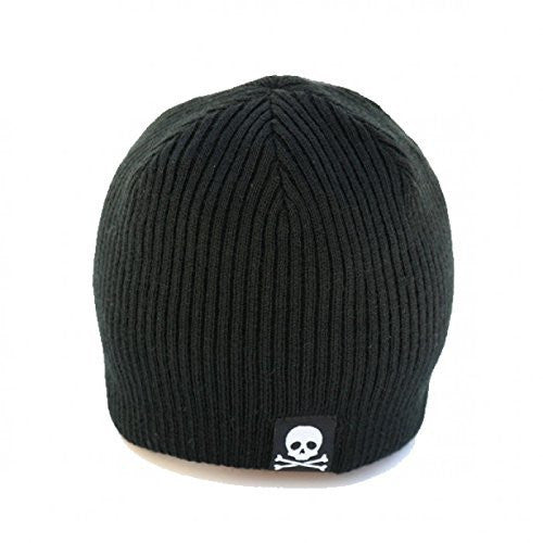 Black and Gray Baby Skull Tag Beanie Baby Hat