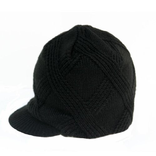 Black Boy's Baby Visor Beanie Hat with Stripes Detail
