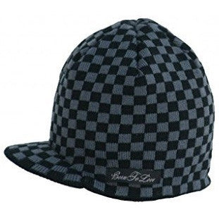 f698d148473ff Black and Gray Checkered Visor Beanie Baby Hat