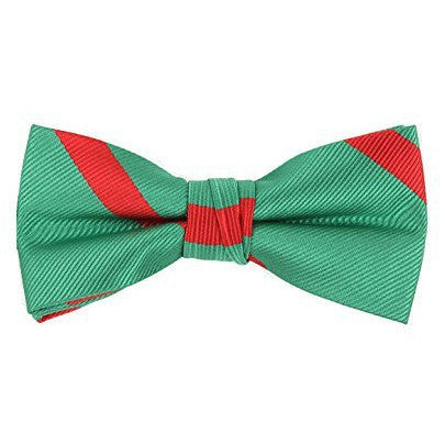 ac8d3a28141b Green Bow Tie with Red Stripes - Boys Kids Pre Tied Adjustable Bowtie  Christmas Holiday Party Dress up