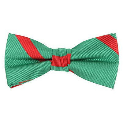 Green Bow Tie with Red Stripes - Boys Kids Pre Tied Adjustable Bowtie Christmas Holiday Party Dress up