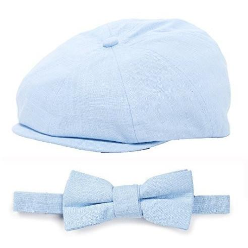 Baby Blue Linen Kids Newsboy Hat and Bow Tie Set