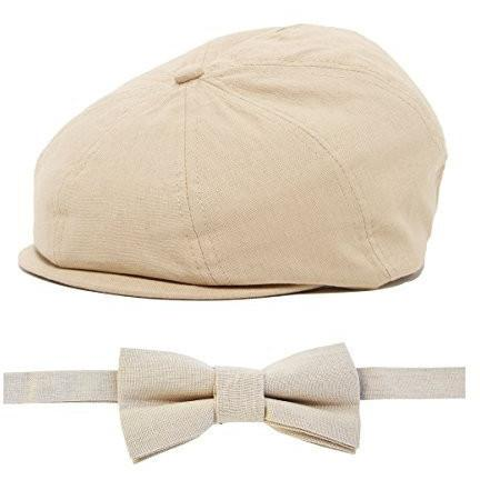 Tan Newsboy Cap and Bow Tie Set