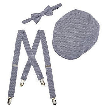Suspenders, Bow Tie and Cap 3 Piece Set