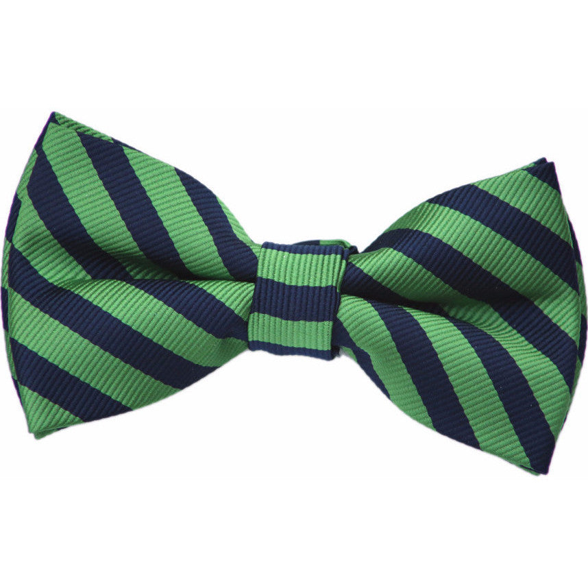 Navy and Green Stripe Bow Tie