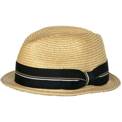 d97b51e17e93d Straw Fedora with Black Stripe Band